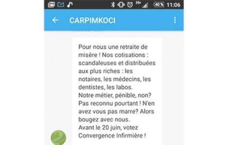 SMS ÉLECTIONS CARPIMKO / CONVERGENCE INFIRMIÈRE