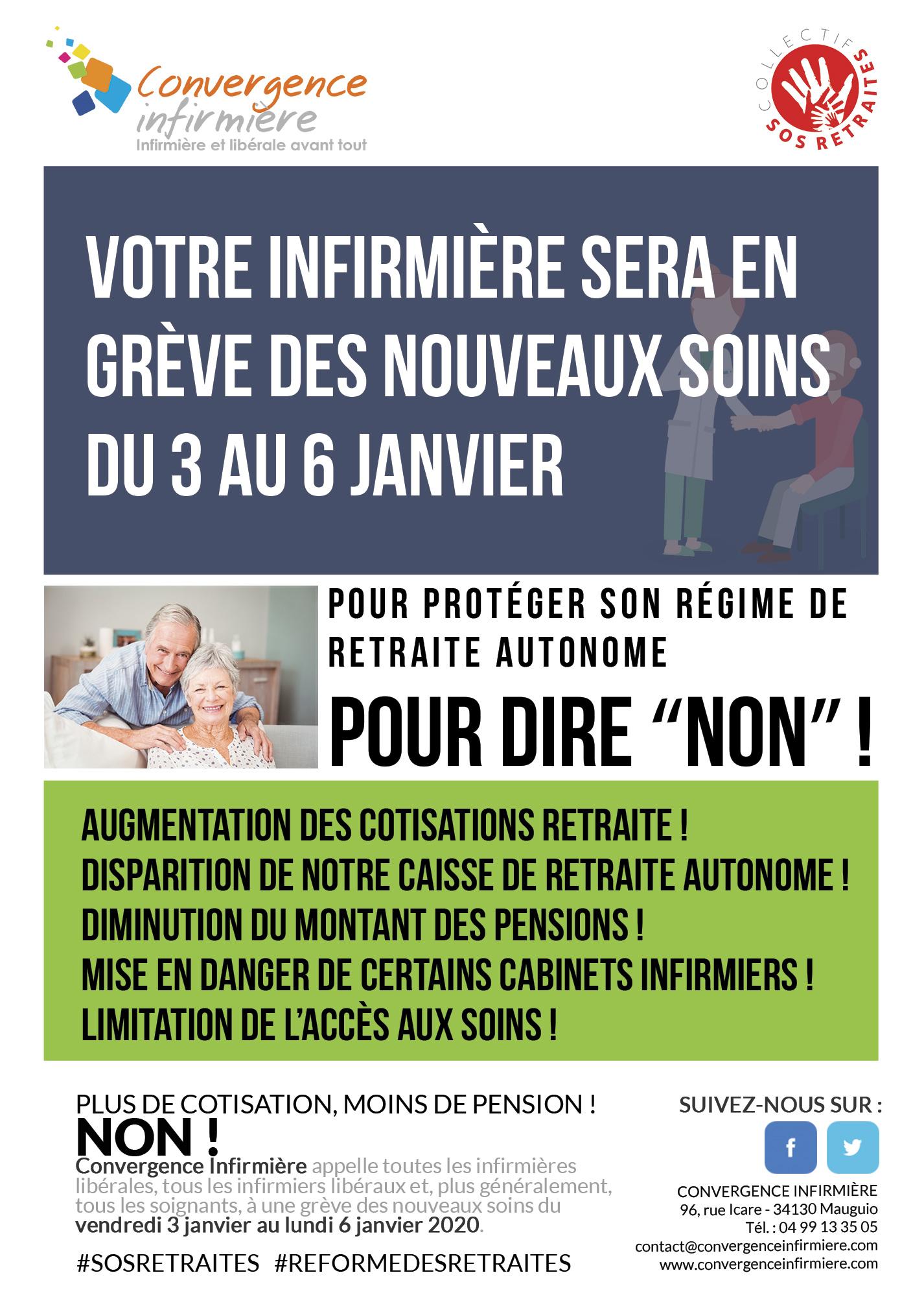 Convergence Infirmière appelle à une grève des nouveaux soins du 3 au 6 janvier